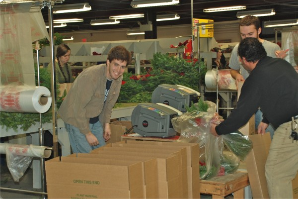 Workers at Whitney Wreath in Whitneyville are busy preparing and packaging Christmas wreaths during the 2011 holiday season.