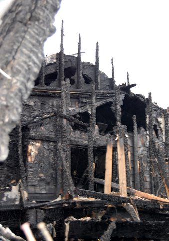 This charred skeleton of a Jonesboro home gutted by fire.