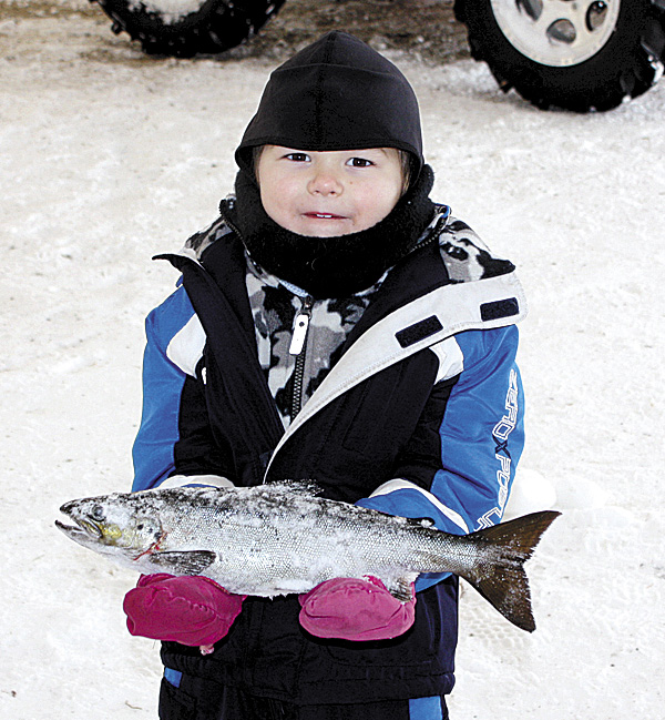 A young boy holds a large fish caught during the 2011 Hancock County Ice Fishing Derby, sponsored by G & M Variety of East Holden. The 2012 derby will take place Saturday-Sunday, Feb. 11-12, and is open to anglers fishing on lakes and ponds throughout Hancock County. Weigh-ins will be held 3-5 p.m., daily at Jenkins Beach on Green Lake.