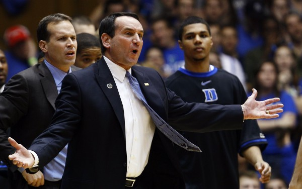 Duke coach Mike Krzyzewski reacts during the first half of an NCAA college basketball game against Miami in Durham, N.C., Sunday, Feb. 5, 2012. Miami won 78-74 in overtime.