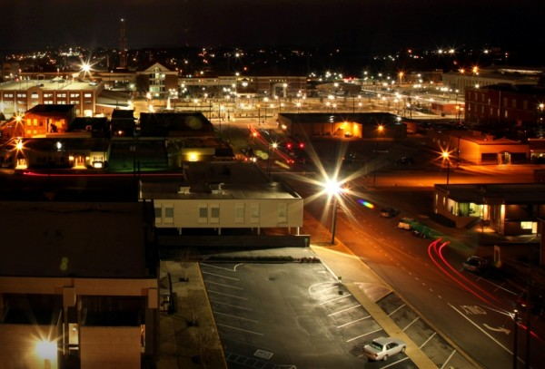 An overview of the newly revitalized downtown Tuscaloosa, Ala., includes a four-story parking garage (top left) and a park square (top center) with decorative lamps, a fountain and pavillion clock tower (center). Sen. Richard Shelby, R-Ala., owns a 7,800-square foot building, next to the garage, that houses his Tuscaloosa Title company and his nephew's law firm. His block was not razed.