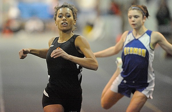 Brewer High School's Teal Jackson wins the girls 55 meter dash final during the PVC Eastern Maine Indoor Track League Championship at the University of Maine in Orono on Saturday, Feb. 11, 2012.