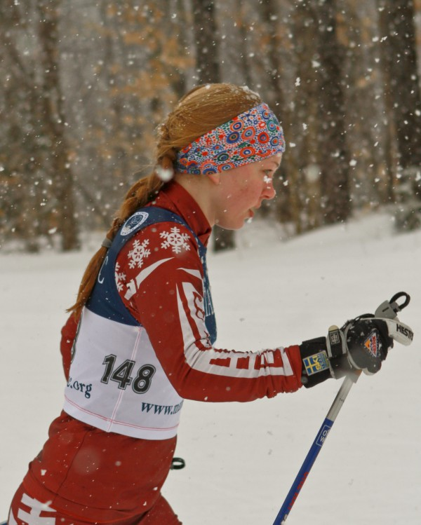 Ginger Kieffer of Caribou races in the girls Classical Ski Race, held at the Nordic Heritage Center in Presque Isle. This was the last of four events in her quest for the Girls Class B Skimeister Crown.