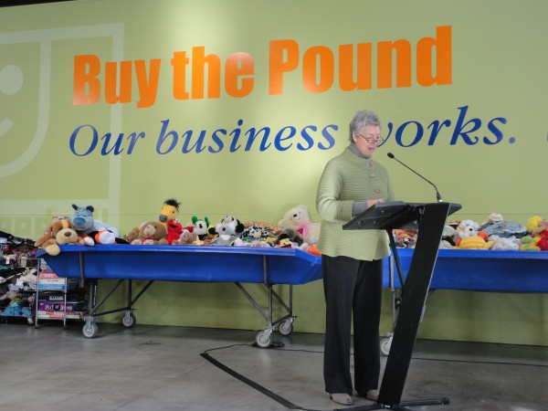 Anna Eleanor Roosevelt, president of Goodwill Industries, addresses reporters and guests Wednesday, Feb. 8, 2012, during a sneak preview of the organization's new warehouse and Buy-the-Pound Outlet store in Gorham.