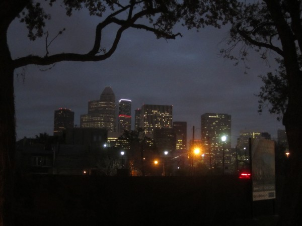 Downtown Houston, seen from midtown just before dawn.