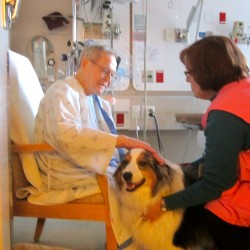 Darby gets a pat and smile from Frances, who is about to be discharged from Eastern Maine Medical Center.