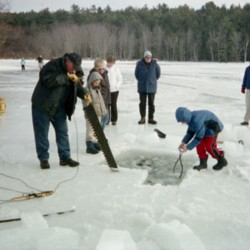 Ice harvesting connects visitors to Orrington farming history