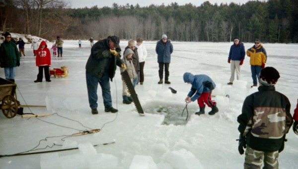 An old-fashioned ice-harvesting demonstration will be offered on Fields Pond by members of the The Curran Homestead Living History Farm and Museum from 10 a.m. to 2 p.m. Saturday, Feb. 11, 2012.