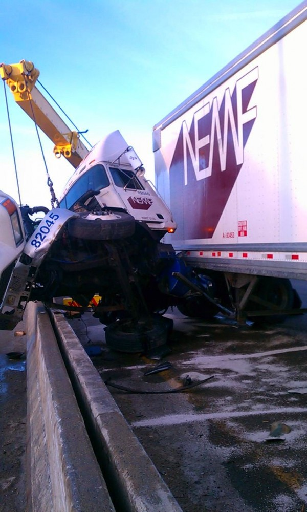 A tractor-trailer jackknifed on the Maine Turnpike near the New Hampshire border, according to police, and disrupted the morning commute for hundreds of motorists in the southbound lanes Tuesday morning in Kittery. 55-year-old Paul Regan from New Hampshire told police he swerved his rig across the three lanes of traffic to avoid a collision with another tractor-trailer.