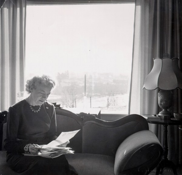 In this 1950 photo, Margaret Chase Smith sits in her Skowheagan study drafting the &quotDeclaration on Conscience.&quot