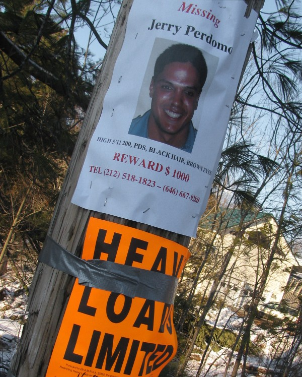 A flier showing Jerry Perdomo was seen on a utility pole that marked the turnoff to the Hadley Mills Road in Jackson on Sunday, Feb. 26, 2012. Maine State Police believe Jerry Perdomo was last seen in this area before his disappearance on Feb. 16, 2012.