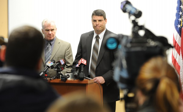 Bangor police Detective Tim Reid (left) and Maine State Police Lt. Chris Coleman update the press regarding the investigation into the disappearance of Florida firefighter Jerry Perdomo on Monday, Feb. 27, 2012, at the Bangor police station.