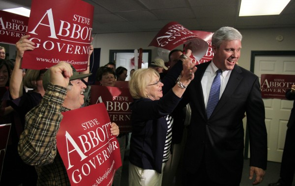 Republican gubernatorial candidate Steve Abbott talks with his supporters at his primary election night party, Tuesday, June 8, 2010, in Portland, Maine.