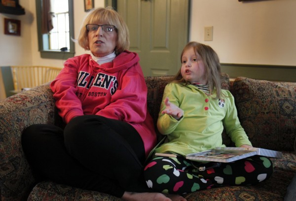 Alannah Shevenell, 9, and her grandmother, Debi Skolas, speak to a reporter at their home in Hollis on Thursday, Feb. 2, 2012. Alannah returned home Wednesday afternoon, three months after receiving six new organs in a groundbreaking operation. Doctors at Children's Hospital Boston replaced Alannah Shevenell's stomach, liver, spleen, small intestine, pancreas and a portion of her esophagus in October.