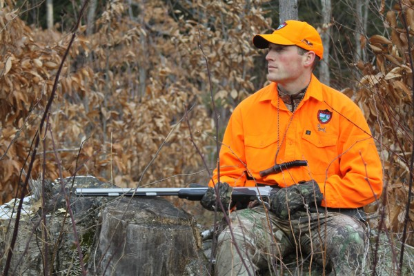 Warden Kristopher MacCabe in the woods during muzzleloader season. MacCabe is one of the wardens featured in the new Animal Planet TV show &quotNorth Woods Law,&quot which debuts March 16.