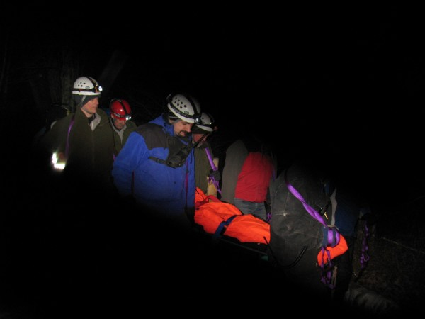Rescuers at Acadia National Park help an injured 57-year-old Bass Harbor woman Wednesday, Feb. 8, after she hurt her ankle while hiking and then crawled for seven hours before being rescued.
