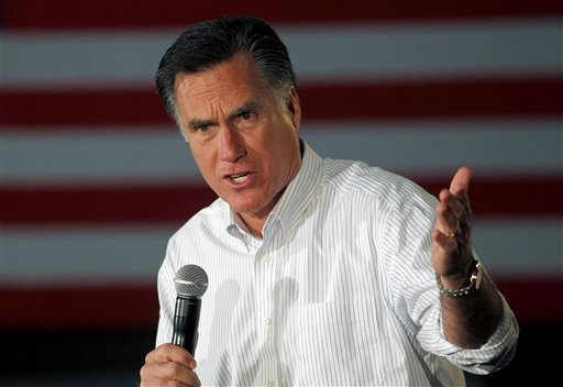 Republican presidential candidate former Massachusetts Gov. Mitt Romney speaks at a campaign rally in Atlanta, Wednesday, Feb. 8, 2012.