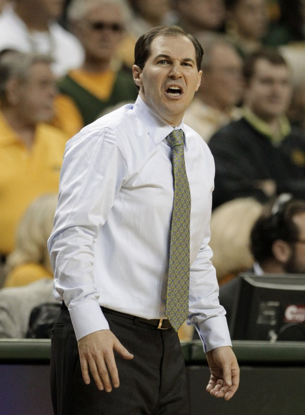 Baylor head coach Scott Drew reacts to a call by an official in the second half of an NCAA basketball game against Missouri, in Waco, Texas. Investors claim to have lost more than $50 million in the Ponzi scheme allegedly orchestrated by David Salinas, a financial adviser with close ties to college basketball who committed suicide last year.