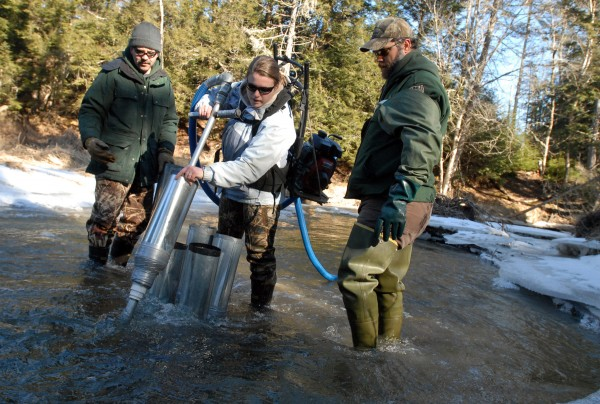 Jen Noll of the Department of Marine Resources uses a water pump to make holes in the bottom of Cove Brook in Winterport where 56,000 Atlantic salmon eggs were planted on Thursday, Jan. 26, 2012.  With Noll are DMR fisheries biologists Paul Christman (left) and Peter Ruksznis (right).