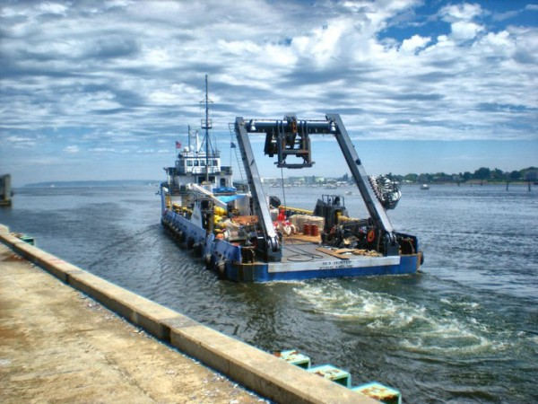 A vessel from Sub Sea Research sets forth into the ocean in search of treasure. The Portland outfit has located the shipwreck of the Port Nicholson, which was carrying nearly $3 billion in platinum bars when it was torpedoed off the coast of Cape Cod during World War II.