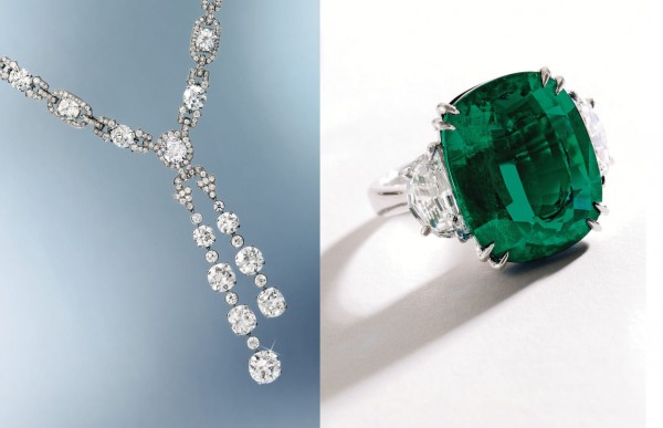 The platinum and diamond sautoir with pendant sold for almost $1.9 million, and the emerald with diamonds ring brought $746,500 recently at Sotheby's New York.