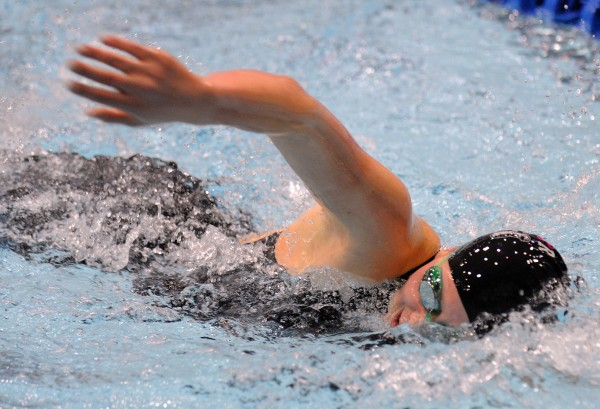 Bangor High School's Jamie Hunsaker competes in the 200 yard freestyle during the girls Class A State Swimming and Diving Championships at the University of Main in Orono Monday afternoon. Hunsaker finished second with the time of 1:59.62.