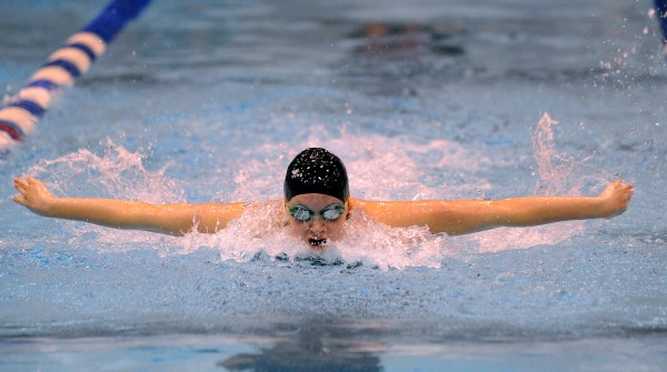 Bangor High School's Emma Wardwell swimms the butterfly leg of the 200 yard medley relay during the girls Class A State Swimming and Diving Championships at the University of Main in Orono Monday afternoon. The Bangor team finished first with the time of 1:51.62.