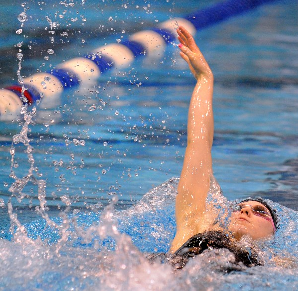 Bangor High School's Mariah Reading swims the backstroke leg of the 200 yard individual medley during the girls Class A State Swimming and Diving Championships at the University of Main in Orono Monday afternoon. Reading finished third with a time of 2:10.20.