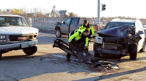 Three vehicles collided at the intersection of Washington Street and Oak Street in Bangor on Tuesday afternoon.