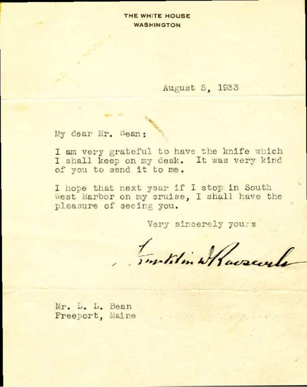 A letter sent from President Franklin Delano Roosevelt to L.L. Bean in 1933.