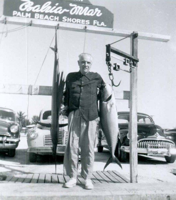 L.L. Bean shows off a nice tuna he caught in Palm Beach Shores, Fla., in the late 1950s.