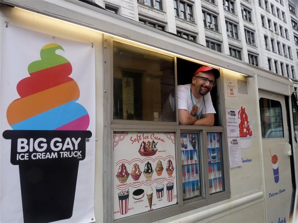Doug Quint, founder of the Big Gay Ice Cream Truck, peers out  of his truck.