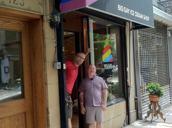 Doug Quint and Bryan Petroff at their Big Gay Ice Cream storefront in New York.