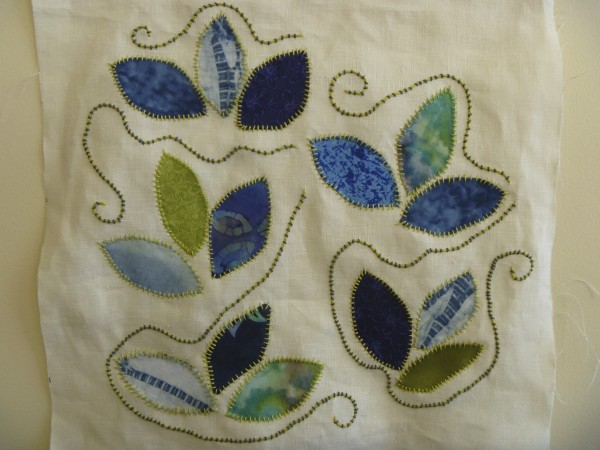 Blue Leaf applique design