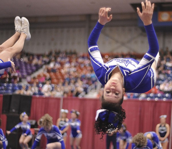 The Lewiston Blue Devils cheerleaders compete in the State Class A Cheerleading  competition held at the Augusta Civic Center, Saturday Feb.11, 2012. Lewiston wowed the crowd once more to win their sixth Class A title.