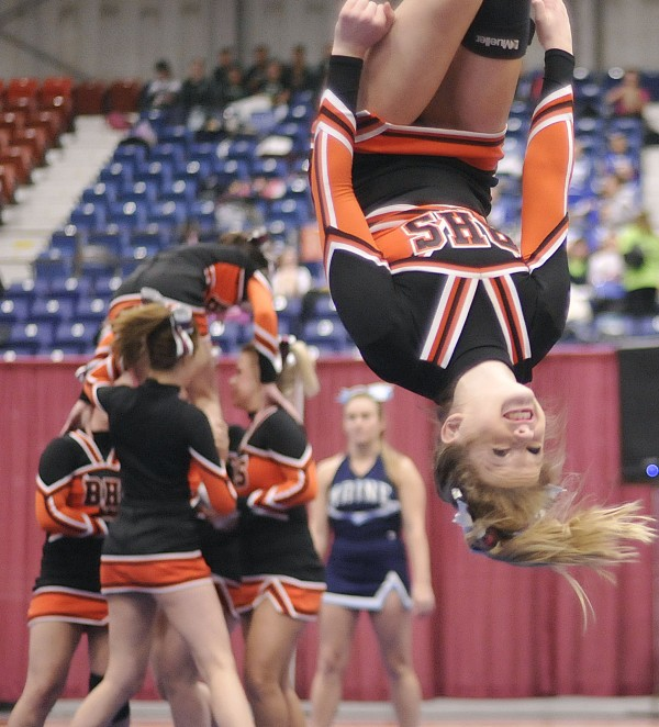 The Brewer cheerleaders competed in the State Class A Cheerleading Competition in Augusta on Saturday, Feb. 11, 2012.
