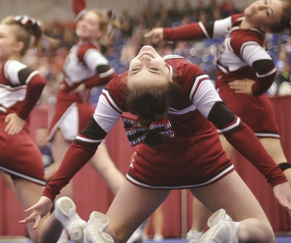 The Bangor High School cheerleaders compete in the State Class A Cheerleading competition at the Augusta Civic Center on Saturday, Feb.11, 2012.