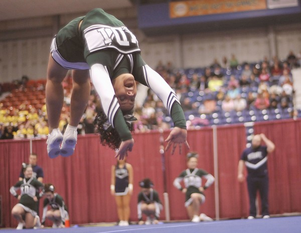The MDI cheerleaders compete in the State Class B cheerleading championship at the Augusta Civic Center on Saturday, Feb. 11, 2012.