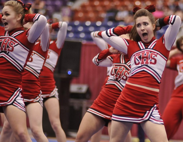 The Central High School cheerleaders perform their routine in the State Class C cheerleading Championship held at the Augusta Civic Center on Saturday, Feb. 11, 2012. The Central girls won their first state cheerleading championship.