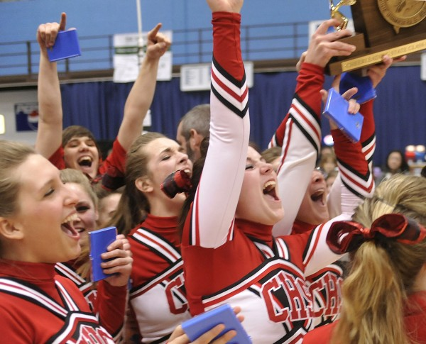 The Central High School cheerleaders celebrate their first state championship at the Augusta Civic Center on Saturday, Feb. 11, 2012.