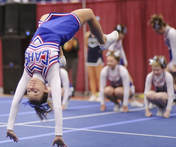 Central Aroostook High School cheerleader Whitney Klein and her teammates compete in the State championship Class D cheerleading meet held at the Augusta Civic Center on Saturday, Feb.11, 2012.