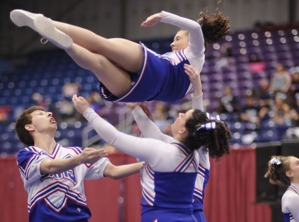 Central Aroostook High School cheerleaders compete in the State championship Class D cheerleading meet held at the Augusta Civic Center on Saturday, Feb.11, 2012.