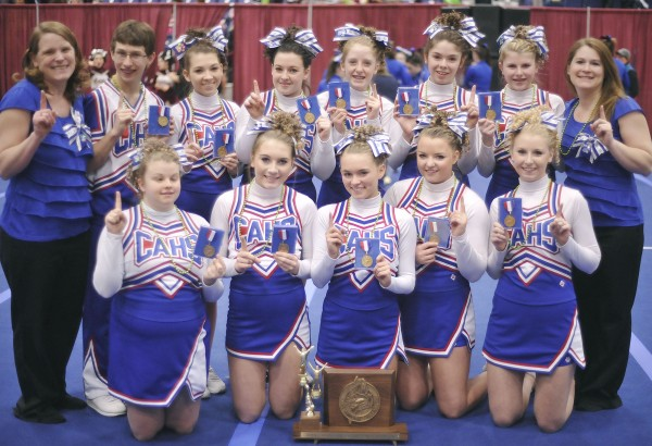 Central Aroostook High School cheerleaders and coaches won their tenth State Class D Championship at the Augusta Civic Center on Saturday, Feb.11, 2012.