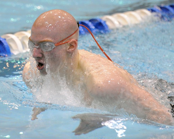 Bangor High School's Liam Reading competes in the 200 yard individual medley during the boys Class A State Swimming and Diving Championships at the University of Main in Orono Monday afternoon. Reading finished fith with the time of 2:06.48.