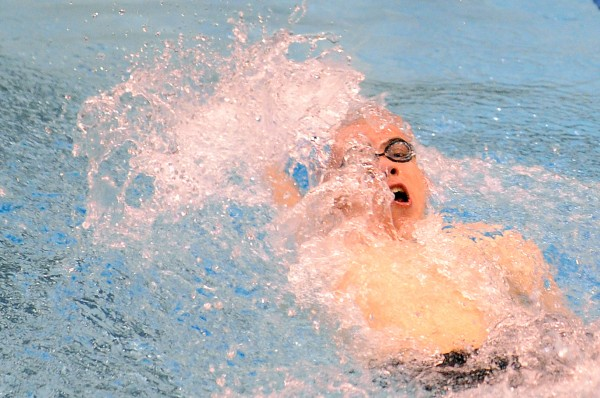 Bangor High School's Matt England swimms the backstroke leg of the 200 yard medley relay during the boys Class A State Swimming and Diving Championships at the University of Main in Orono Monday afternoon. The Bangor team finished first with the time of 1:40.77.