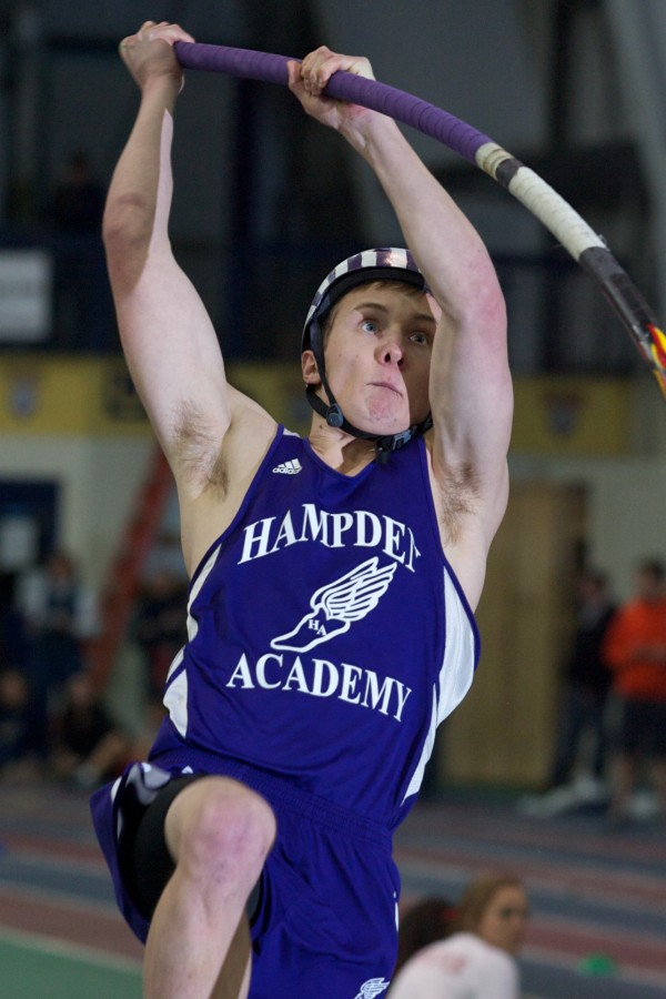Hampden Academy senior Conor Patrick begins a pole vault at the Maine Class A Indoor Track State Meet in Gorham Monday, Feb. 20, 2012.