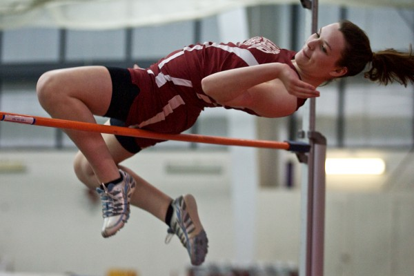 Bangor High School senior Deanne Krapf attempts a high jump in an early round at the Maine Class A Indoor Track State Meet in Gorham Monday, Feb. 20, 2012.
