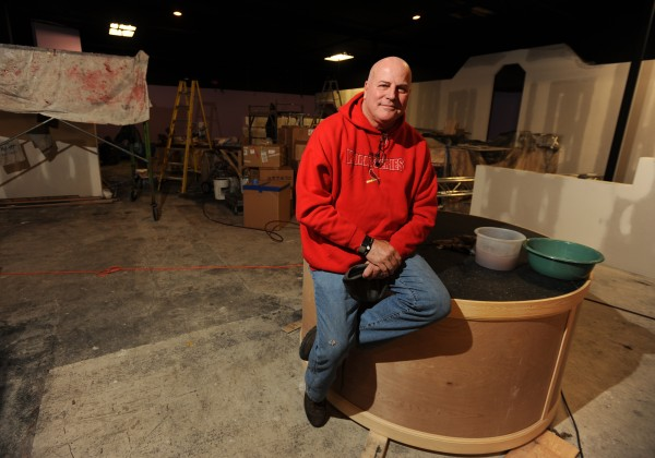 Jimmie Ellis, the spokesman for ownership group Arayos LLC and a professional men's club planner and designer, sits on one of two satellite stages at the yet to be opened Diamonds Gentleman's Club on Harlow Street in Bangor in January 2012.