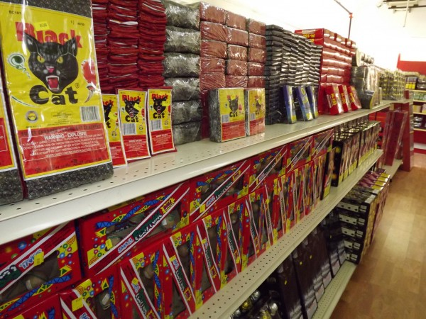 Shelves of fireworks are ready for sale at Pyro City in Manchester on Feb. 28, 2012.