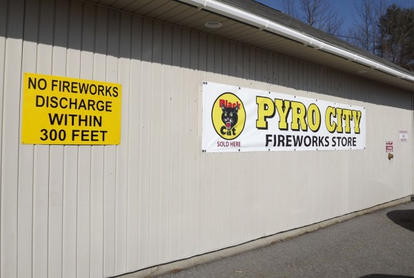 A new sign welcomes customers to Pyro City Fireworks Store in Manchester on Feb. 28, 2012.